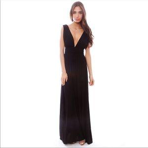 Lovers + Friends Revolve Black Satin Maxi Dress